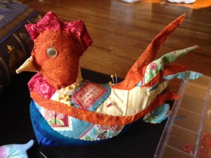 Quilted rooster pincushion